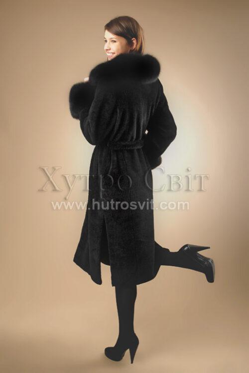 Пальто - мутон, комір - песець, фото 5