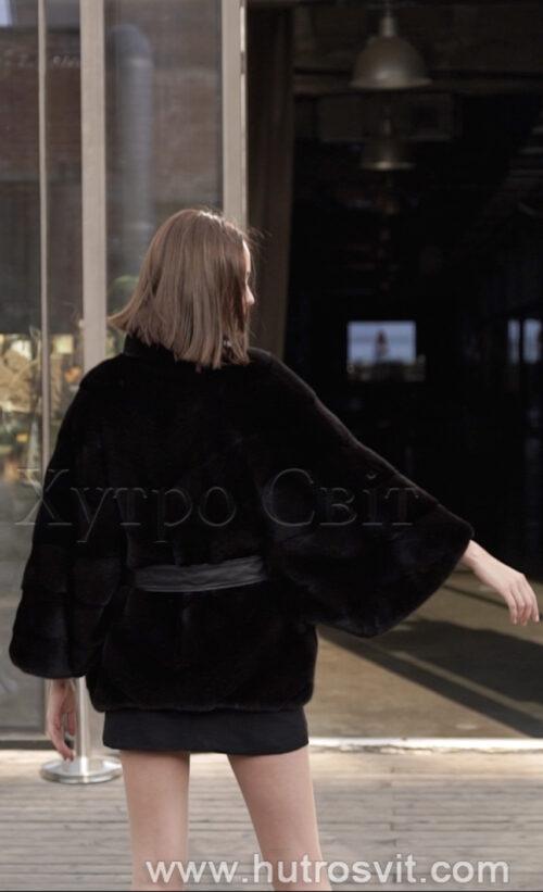 продукція виробника ХутроСвіт Тисмениця 2021 Норкова курточка пошита ялинкою, комір стійка хутро нафа, фото 3