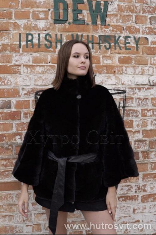 продукція виробника ХутроСвіт Тисмениця 2021 Норкова курточка пошита ялинкою, комір стійка хутро нафа, фото 4