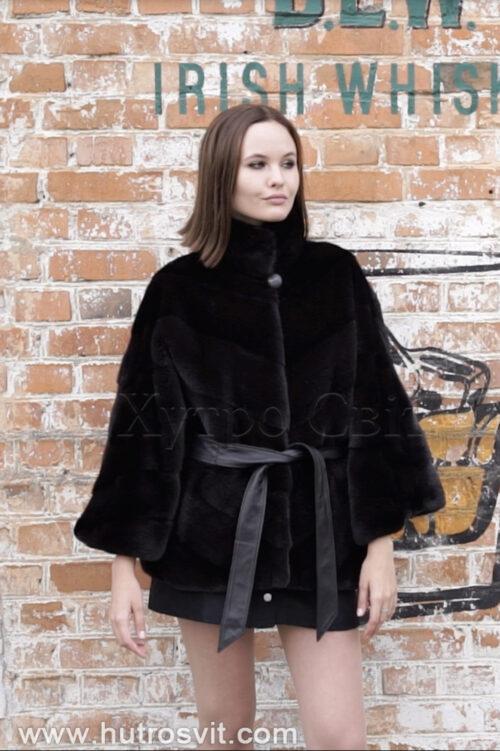 продукція виробника ХутроСвіт Тисмениця 2021 Норкова курточка пошита ялинкою, комір стійка хутро нафа, фото 2