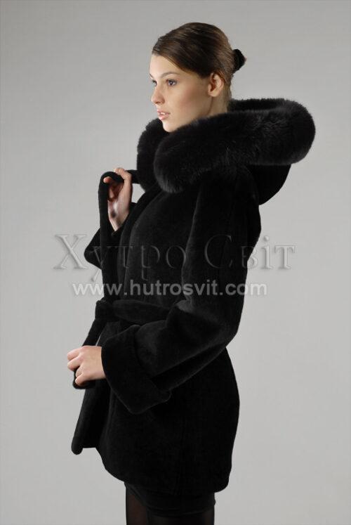 курточка з капюшоном, хутро - мутон, опушка - песець, фото 1