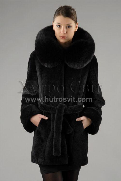 курточка(полушубок) с капюшоном, мех - мутон, опушка -  песец Фото 1