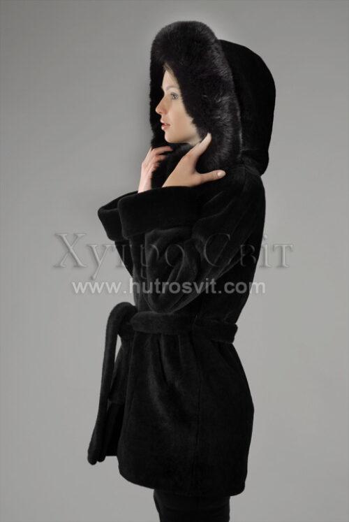курточка с капюшоном, мех - мутон, опушка -  песец Фото 2