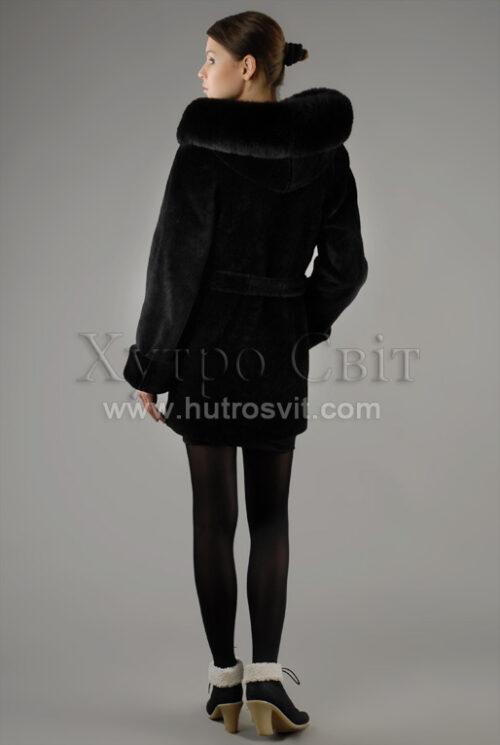 курточка з капюшоном, хутро - мутон, опушка - песець, фото 4