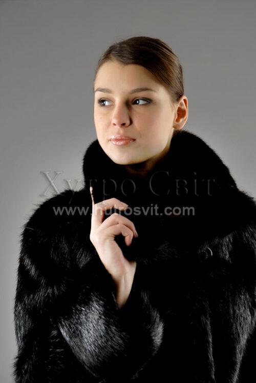 ХутроСвит Тисменица, шуба из нутрии, черного цвета, на воротнике мех норки, фото 2