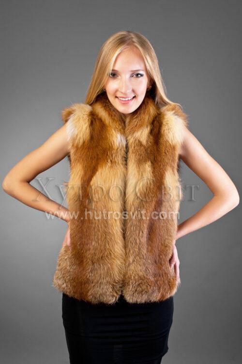 Меховой жилет из натурального меха лисицы, кожаные вставки, регулируемый размер. Длина изделия 60см, или под индивидуальный заказ., фото 2