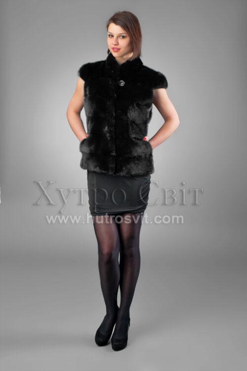 Жилетка из черной скандинавской норки, поперечный пошив, воротник стойка, фото 1