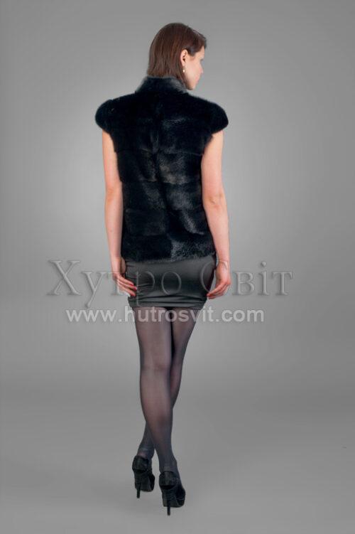 Жилетка (безрукавка) - скандинавская норка черная  (60 см), фото 4