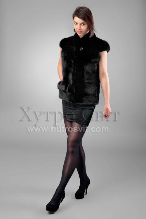 Женская жилетка-безрукавка натуральный мех из скандинавской норки черного цвета, воротник стойка, фото 5