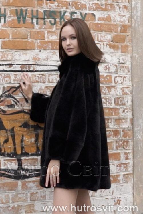 продукция производителя  ХутроСвіт Тисмениця 2021 Норковое манто черного цвета с воротником стойка, фото 5