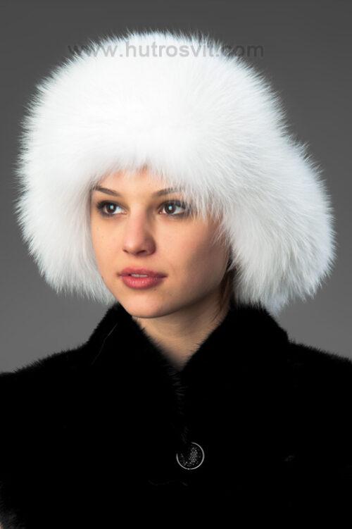 Белая меховая шапка-ушанка, мех - песец + кожа, фото 1
