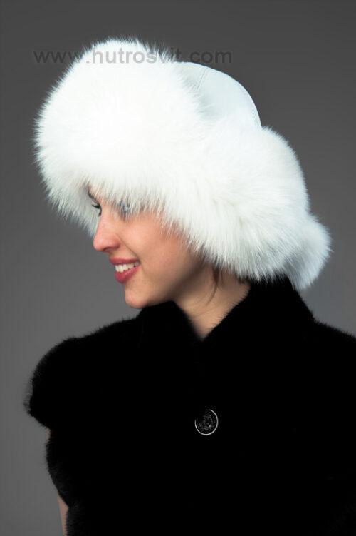 Песцовая шапка-ушанка, купить можно по цене 1300 грн, цвет белый. Натуральная кожа, размер регулируется резиновой вставкой по ободку., фото 2