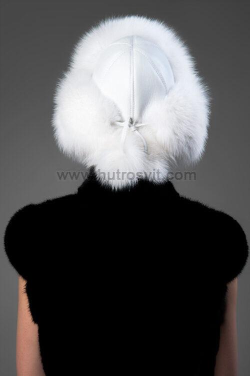 Зимняя меховая шапка, женская. Данная модель в форме шапки-ушанки. Белоснежный мех песца + натуральная кожа, фото 3