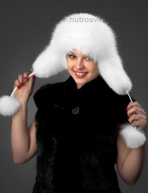 Белая шапка из песца - мех белый, сверху натуральная кожа, очень теплая женская шапка ушанка, молодежный и студенческий стиль. Песец белый, некрашеный. Акрктический цвет, фото 4