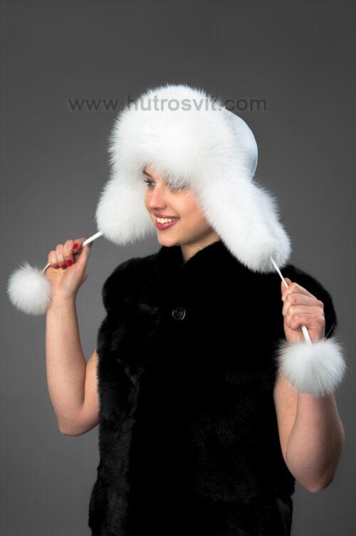 Женские шапки из меха: белая песцовая шапка-ушанка с натуральной кожей, фото 5