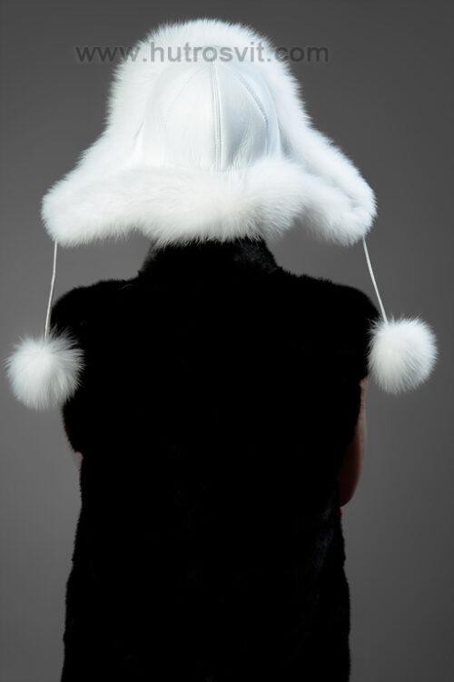 шапка-ушанка, мех - песец + кожа, фото 6