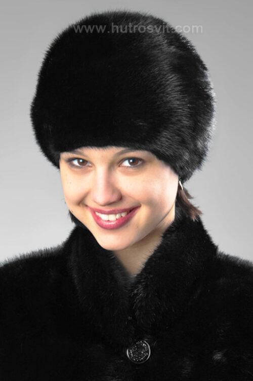 Элитные меховые шапки - мягкий женский головной убор - мех норка скандинавская, черного цвета, фото 1