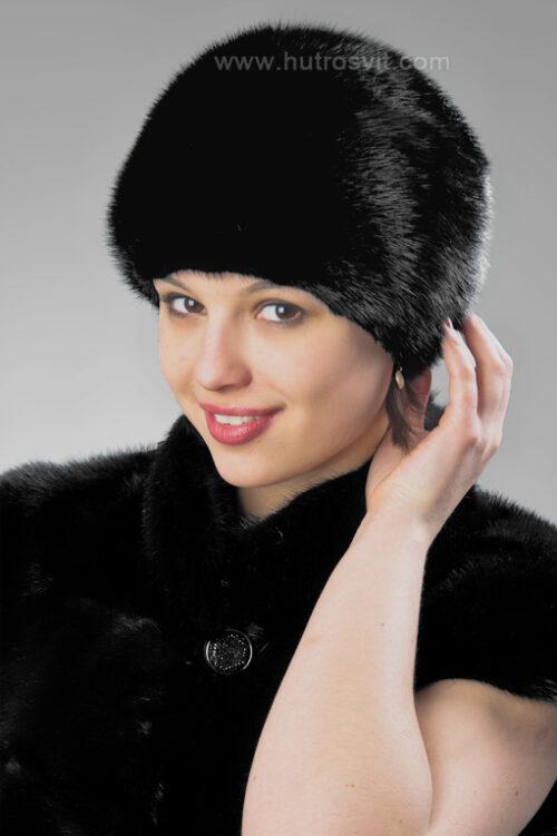 Шубы и шапки из натурального меха - черный женский головной убор - мех норка скандинавская - стоимость мехового берета - 1800 грн., фото 2
