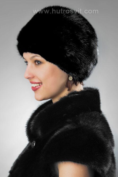Мяка жіноча шапка із хутра чорного кольору, скандинавська норка, фото 3