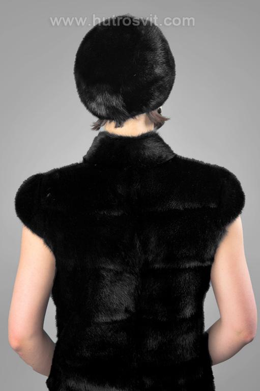 Жіночі хутряні шапки з натурального хутра - берет норка скандинавська, колір чорний Фото 4