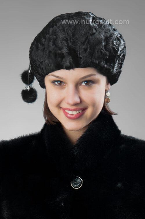 Шубы и шапки из каракуля - женский берет - каракуль черного цвета, регулируется резинкой по ободу. Недорогая цена - 900 грн., фото 1