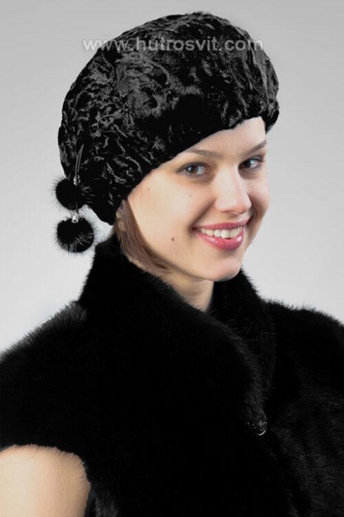 Меховые шапки женские из каракуля - мех каракуля шелковитый, гладкий, очень износостойкий и теплый зимой. Зимняя шапка из каракульчи внешне напоминает бархат., фото 2
