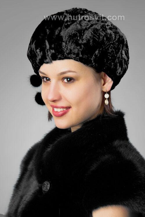 Каталог меховых шуб и зимних шапок - теплый женский берет из меха каракуля - фото 2013, цена 900 грн., фото 3