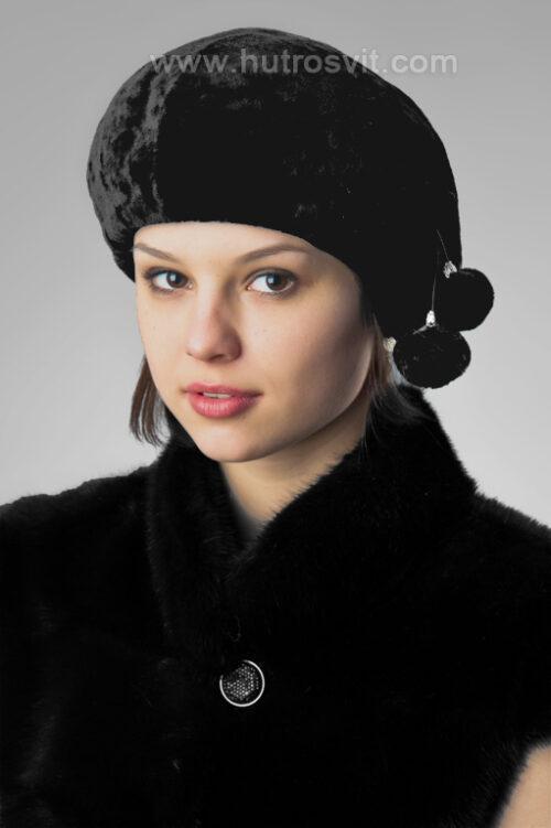 Шапки жіночі з мутона:/ Чорний колір/ Тип - берет Фото 1