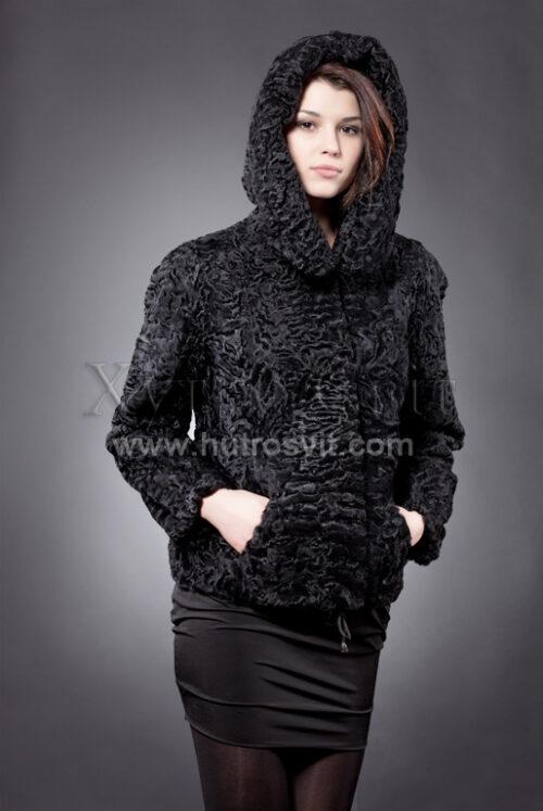 Каракуль півшубок - модель курточка куліска з капюшоном, фото 1