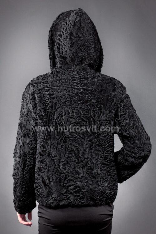 Каракуль півшубок - модель курточка куліска з капюшоном, фото 5