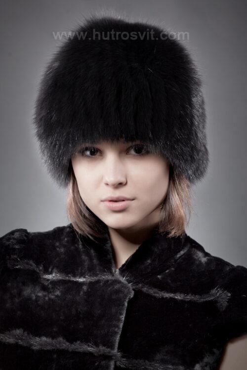 шапка - черный песец на трикотаже, фото 1