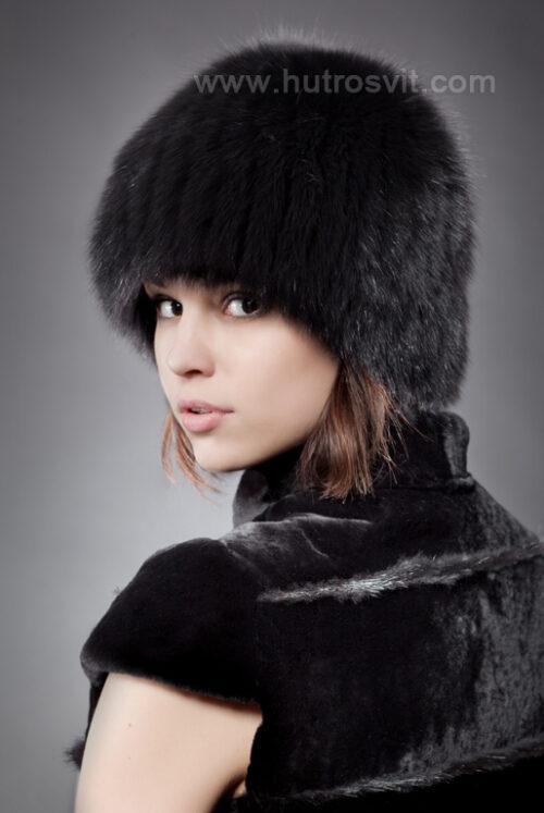 шапка - черный песец на трикотаже, фото 2