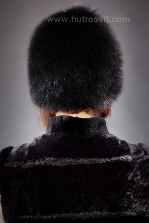 шапка - черный песец на трикотаже, фото 3