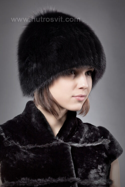 шапка - черный песец на трикотаже, фото 4