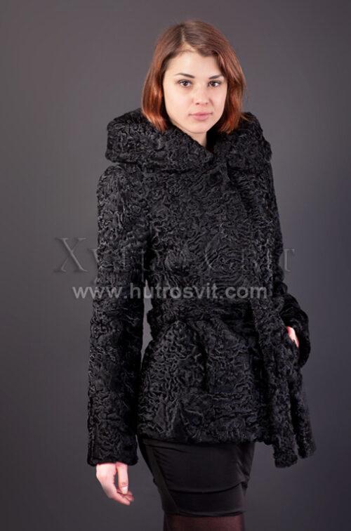 Півшубок каракуль - фасон курточка з поясом та капюшоном Фото 1