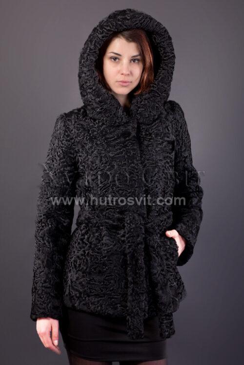 Полушубок из каракуля (модель курточка) капюшон и пояс, фото 2