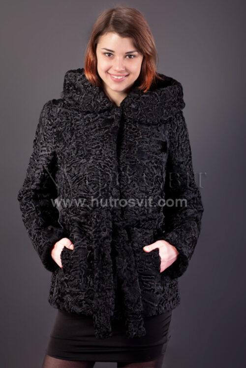 Полушубок из каракуля (модель курточка) капюшон и пояс, фото 3