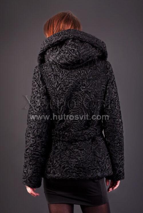 Полушубок из каракуля (модель курточка) капюшон и пояс, фото 4