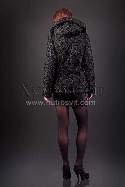 Полушубок из каракуля (модель курточка) капюшон и пояс, фото 5
