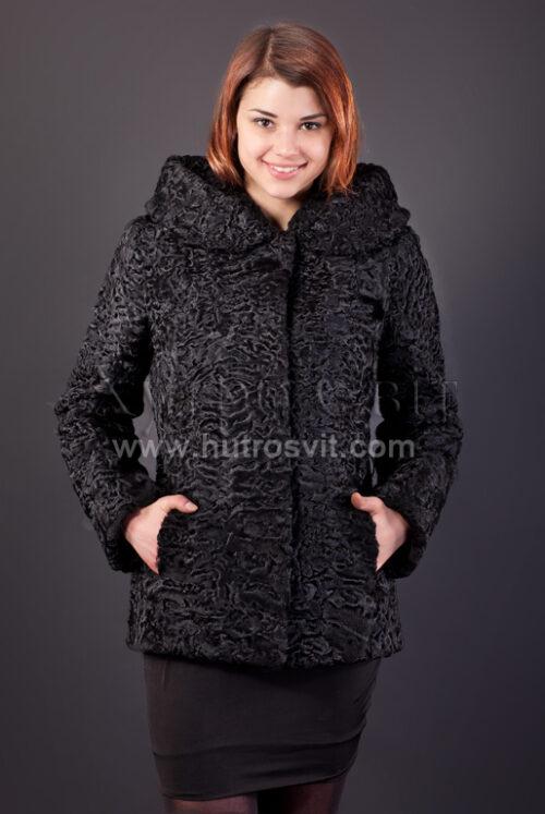 Полушубок из каракуля (модель курточка) капюшон и пояс, фото 6