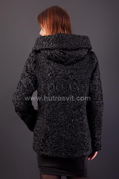 Полушубок из каракуля (модель курточка) капюшон и пояс, фото 7