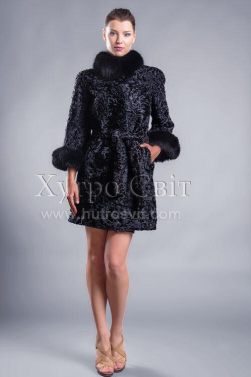Пальто із каракуля з рукавом 3/4, песцева стійка та манжети, фото 1