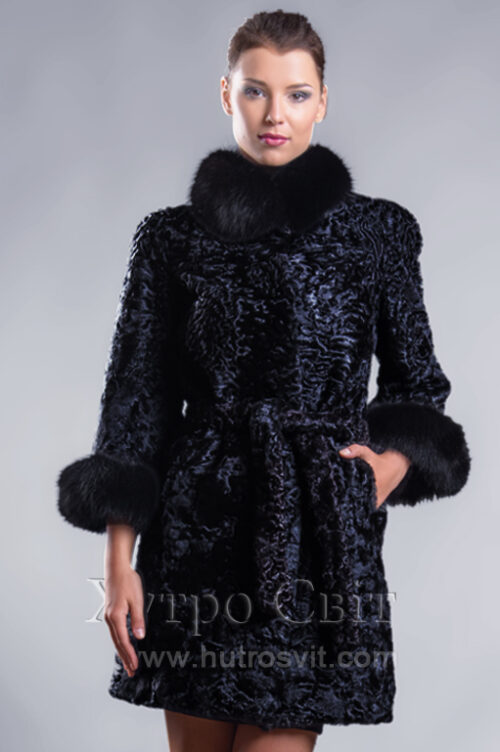 Пальто із каракуля з рукавом 3/4, песцева стійка та манжети, фото 2