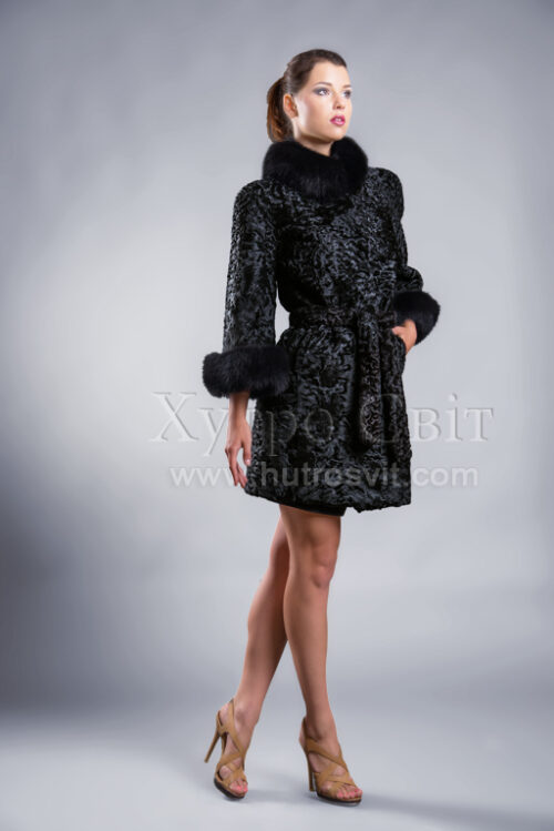 Пальто із каракуля з рукавом 3/4, песцева стійка та манжети, фото 3