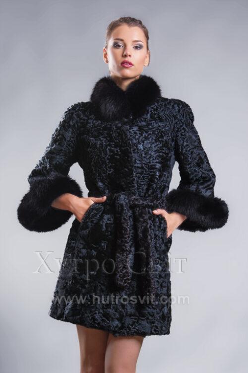 Пальто із каракуля з рукавом 3/4, песцева стійка та манжети, фото 4