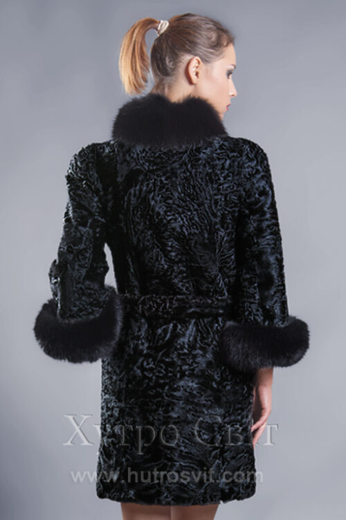 Пальто із каракуля з рукавом 3/4, песцева стійка та манжети, фото 5