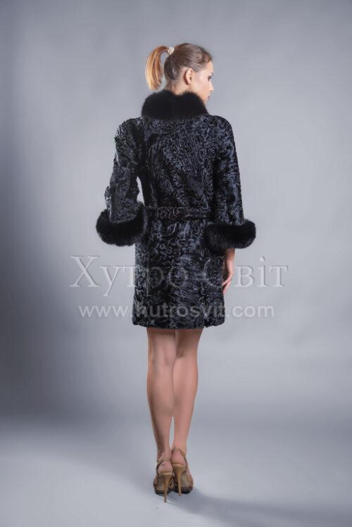 Пальто із каракуля з рукавом 3/4, песцева стійка та манжети, фото 6