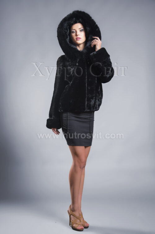 Молодіжна курточка мутон з капюшоном та песцем., фото 1