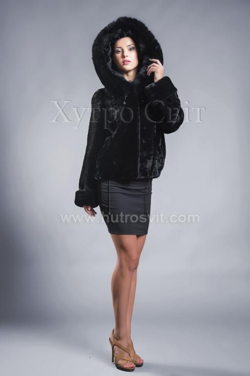 Молодіжна курточка мутон з капюшоном та песцем. Фото 1