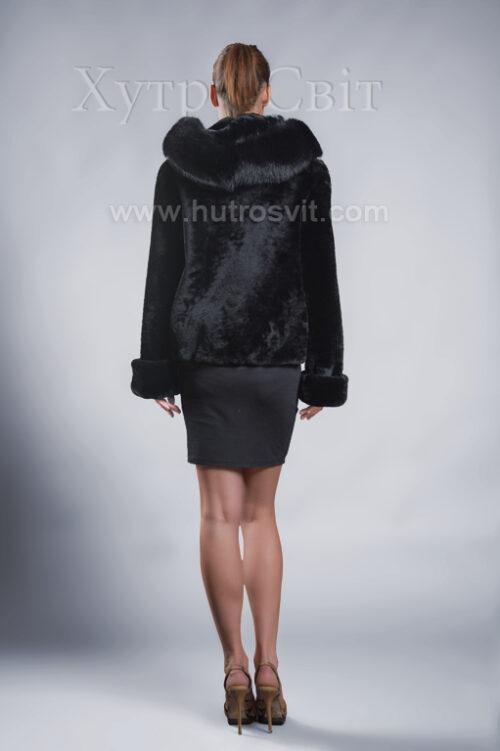 Молодіжна курточка мутон з капюшоном та песцем., фото 2